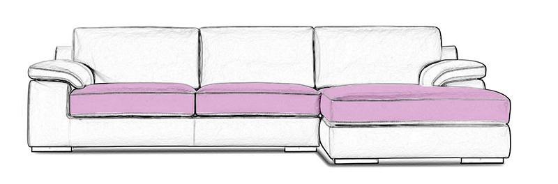 Emplacement de l'assise d'un canapé