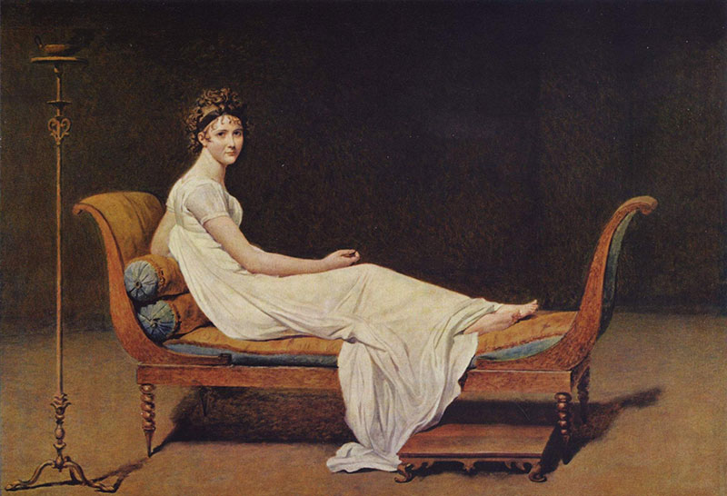 Madame Récamier par Jacques Louis David en 1800