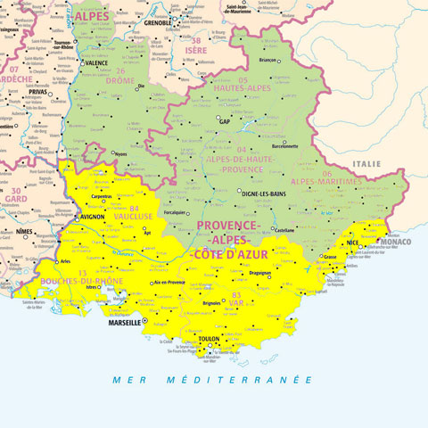 Carte de la démarcation en basse et haute Provence