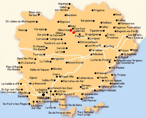 Situation des villages de Salernes et Villecroze