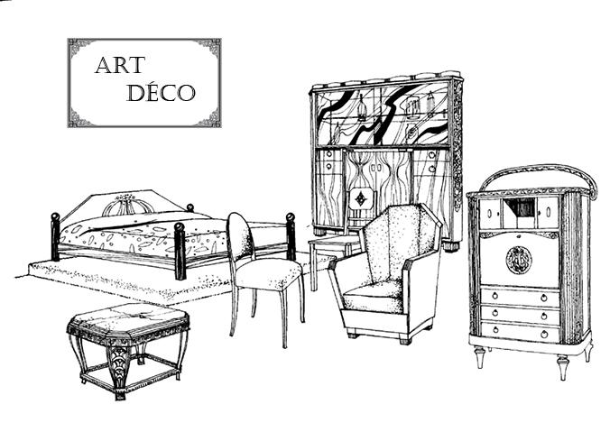 Exemple de mobilier de style Art Décoratif. La période couvre des années 1910 aux années 1930.