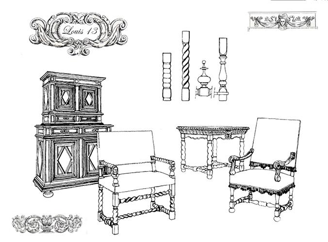 Exemple de mobilier de style Louis 13. La période couvre de 1610 à 1661 exactement.