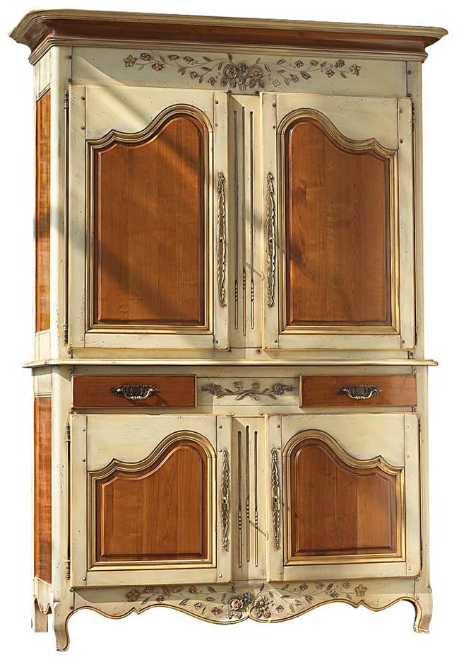 Buffet à deux corps rechampi pour mettre en avant vantaux et tiroirs - Crédit firstclassfurnitureonline.com