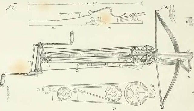 Dessin d'une arbalète à moufle époque guerre de cent ans - Crédit internet