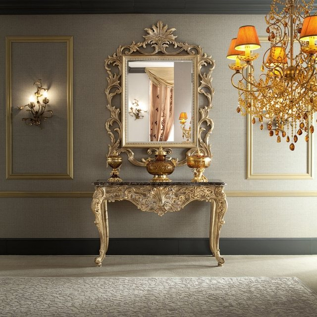 elegant console baroque dore miroir et lustre assortis crdit internet with salon baroque moderne. Black Bedroom Furniture Sets. Home Design Ideas