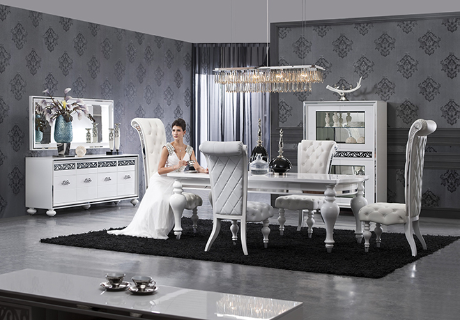 Awesome deco salon baroque moderne contemporary design for Salle a manger baroque noire