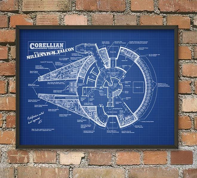 Le plan très détaillé du Faucon Millenium en fond bleu quadrillé