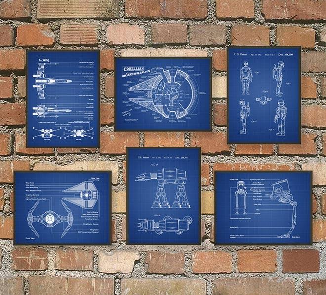 63-Posters-Star-Wars-fond-bleu-quadrillé