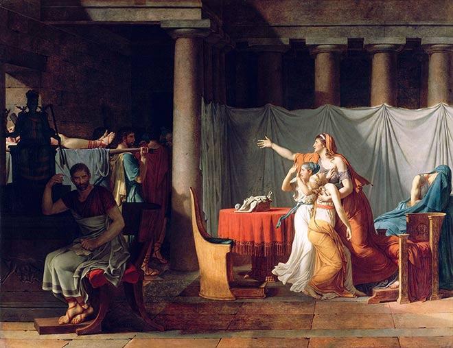 Jacques-Louis David - Les licteurs rapportent à Brutus les corps de ses fils - 1789