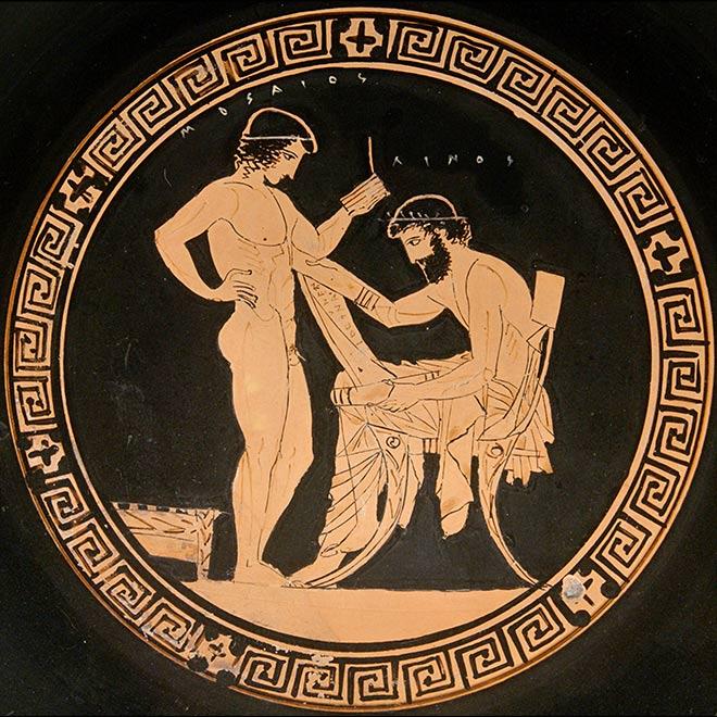 Klismos dans une scène d'école - Détail de poterie grecque 440-435 av J.C
