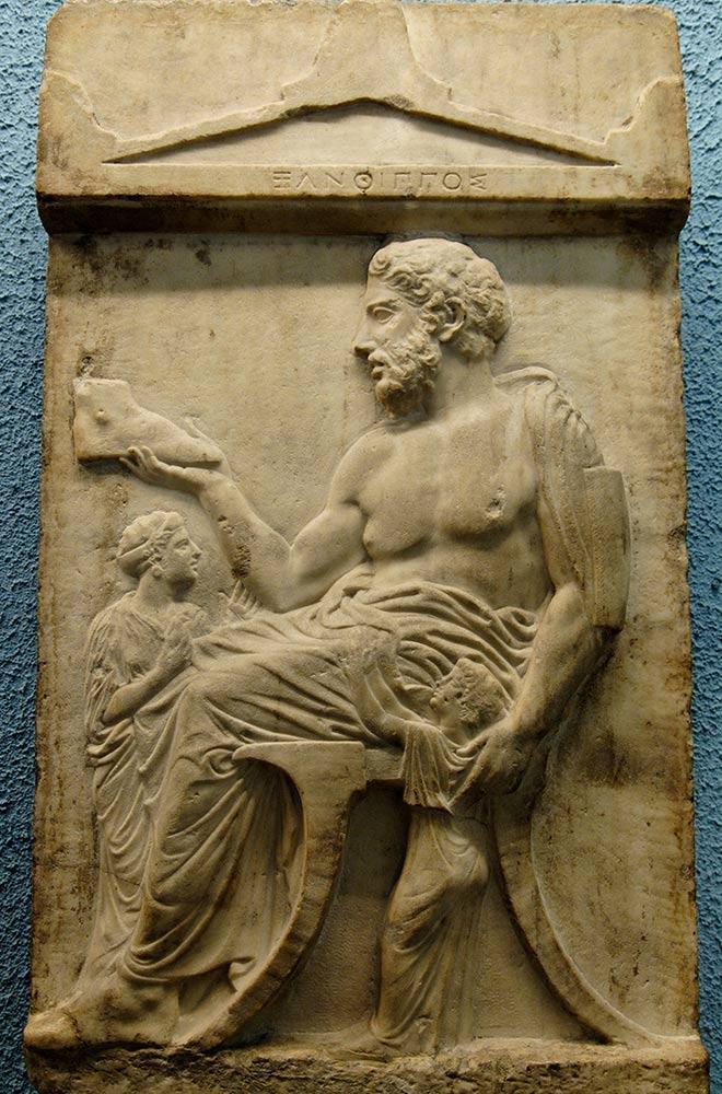 Représentation d'un klismos sur la stèle de Xanthippos - 430-420 av J.C