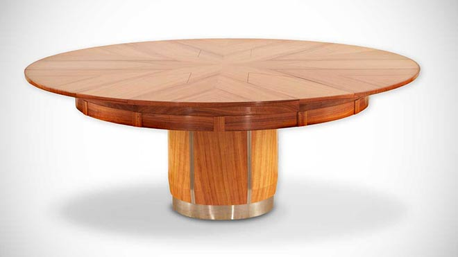 La table de salle manger de robert jupe terre meuble for Table ronde extensible magique