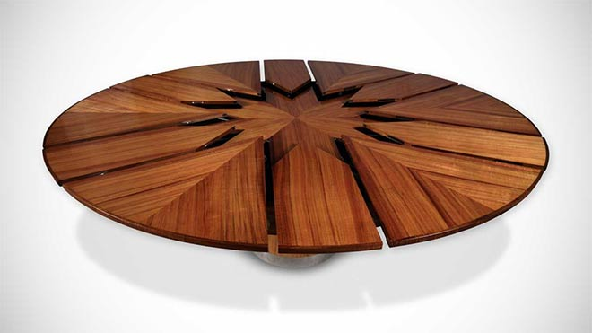 ouverture de la table fletcher modle koa - Table Ronde Extensible Magique