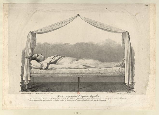 Représentation de Napoléon sur son lit de camp d'Austerlitz 14 heures après sa mort - Source BnF