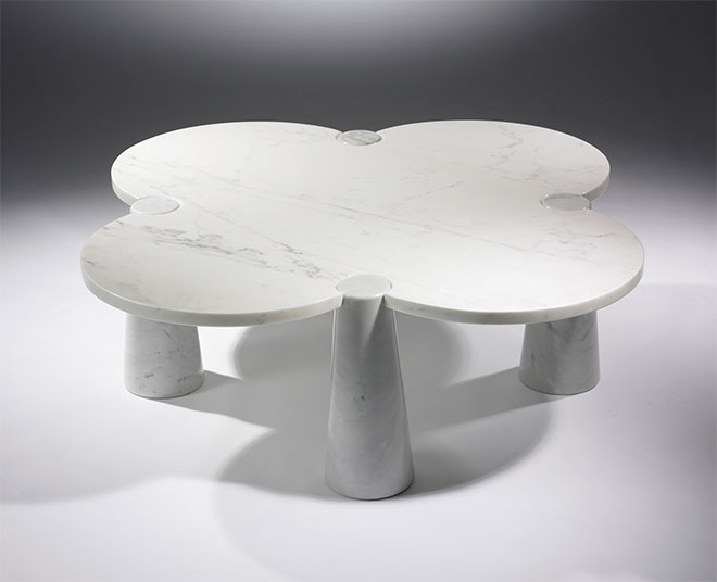 Table basse trèfle marbre blanc - Collection Eros - Angelo Mangiarotti