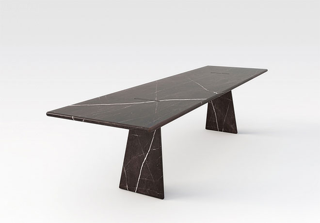 Table rectangulaire marbre noir - Collection Asolo 1981 - Angelo Mangiarotti