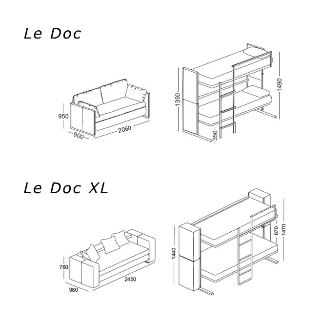 Les dimensions des canapés Doc et Doc XL - © Clei