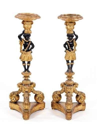 Paire de porte torchères d'époque Louis XIV en bois doré - Crédit internet