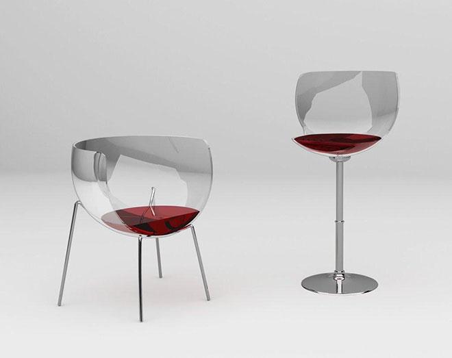 Le tabouret et le fauteuil Merlot - © Marta Del Valle Hernandez