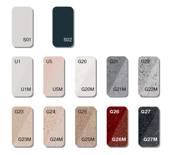 Les différents coloris disponibles de marbre moulé