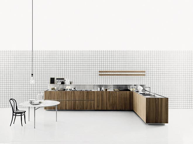 Cuisine moderne modèle K20 placage de bois - © BOFFI