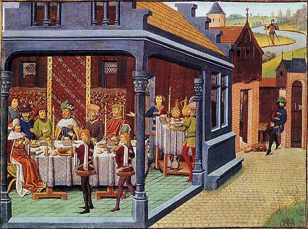 Banquet aristocratique - Chroniques d'Alexandre - Crédit BnF