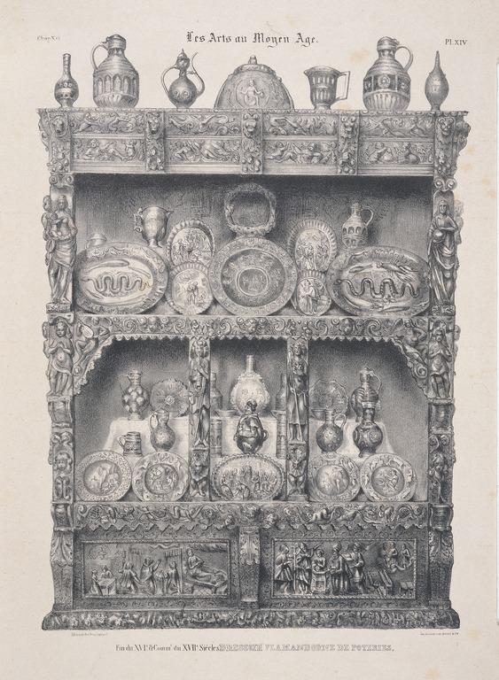 Dressoir flamand orne de poteries - Fin XVIeme siècle